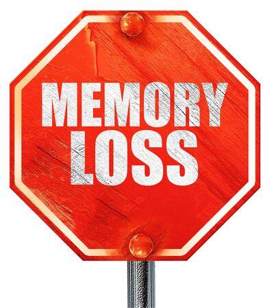 memory loss: memory loss, 3D rendering, a red stop sign