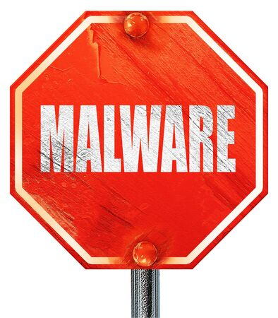 adware: Malware removal background with some soft smooth lines, 3D rendering, a red stop sign