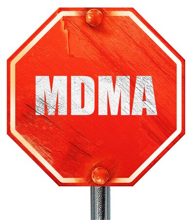 ecstasy pill: mdma, 3D rendering, a red stop sign