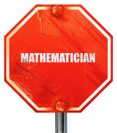 mathematician: mathematician, 3D rendering, a red stop sign