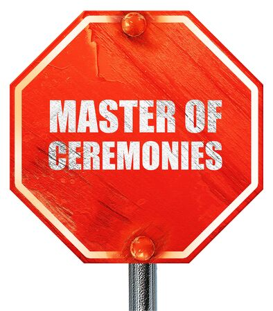 master: master of ceremonies, 3D rendering, a red stop sign