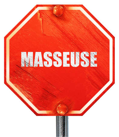 masseuse: masseuse, 3D rendering, a red stop sign