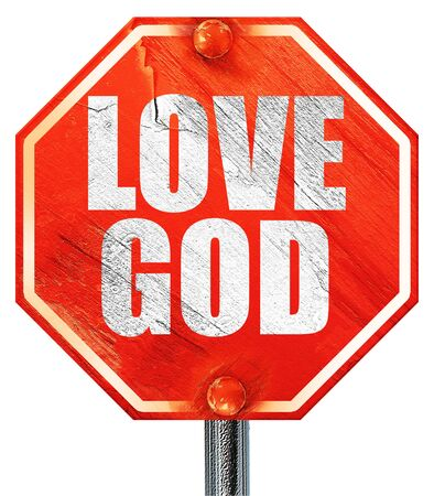 god 3d: love god, 3D rendering, a red stop sign Stock Photo