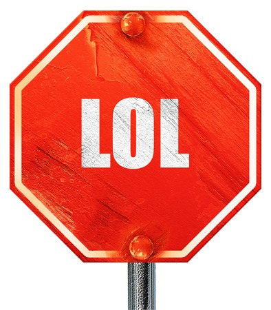 lol: lol internet slang with some soft smooth lines, 3D rendering, a red stop sign