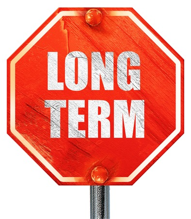 long term: long term, 3D rendering, a red stop sign