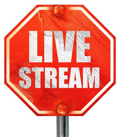 live stream sign: live stream, 3D rendering, a red stop sign