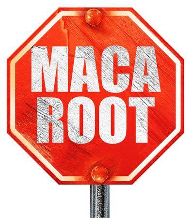 maca root: maca root, 3D rendering, a red stop sign Stock Photo