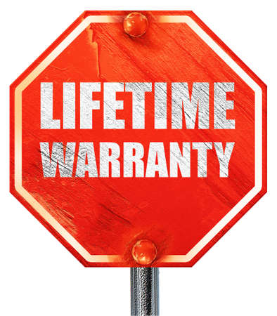 lifetime: lifetime warranty, 3D rendering, a red stop sign Stock Photo