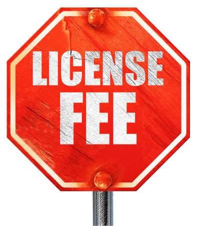 hidden taxes: license fee, 3D rendering, a red stop sign