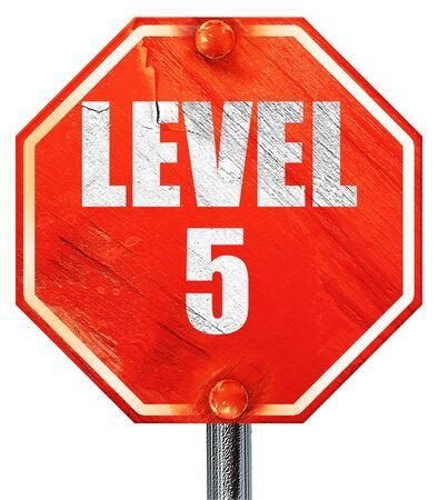 xp: level 5, 3D rendering, a red stop sign