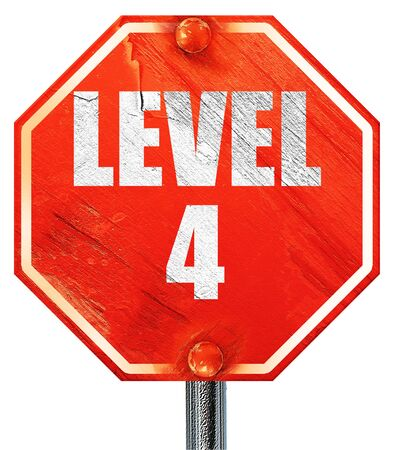 xp: level 4, 3D rendering, a red stop sign