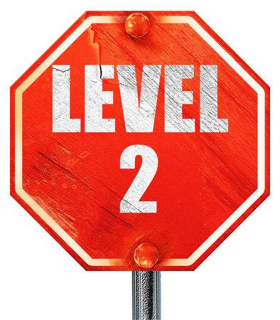 xp: level 2, 3D rendering, a red stop sign