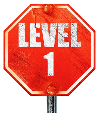 xp: level 1, 3D rendering, a red stop sign Stock Photo