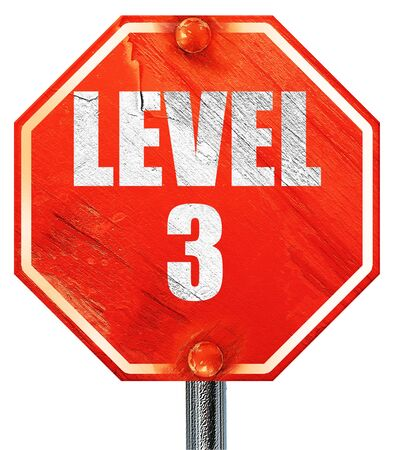 xp: level 3, 3D rendering, a red stop sign Stock Photo