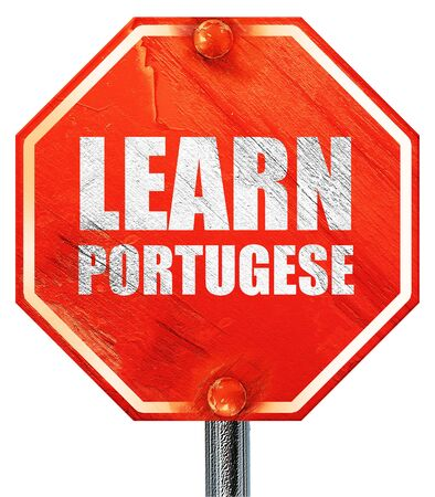 portugese: learn portugese, 3D rendering, a red stop sign