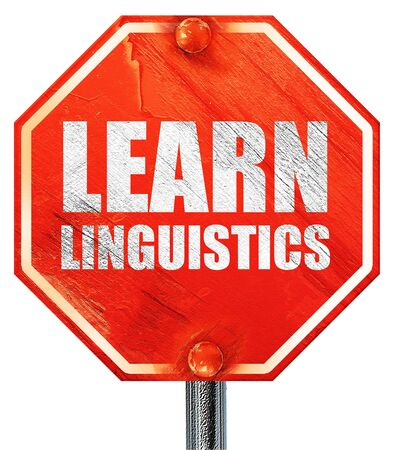 linguistics: learn linguistics, 3D rendering, a red stop sign Stock Photo
