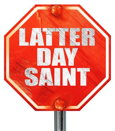 latter: latter day saint, 3D rendering, a red stop sign Stock Photo