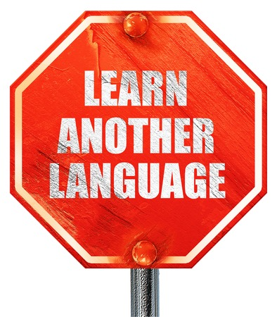another: learn another language, 3D rendering, a red stop sign
