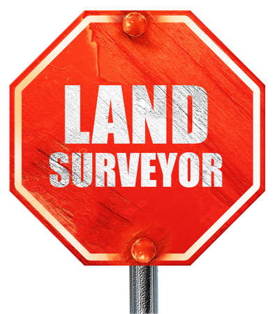 geodesy: land surveyor, 3D rendering, a red stop sign