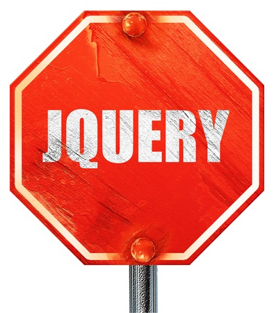 opensource: jquery, 3D rendering, a red stop sign Stock Photo