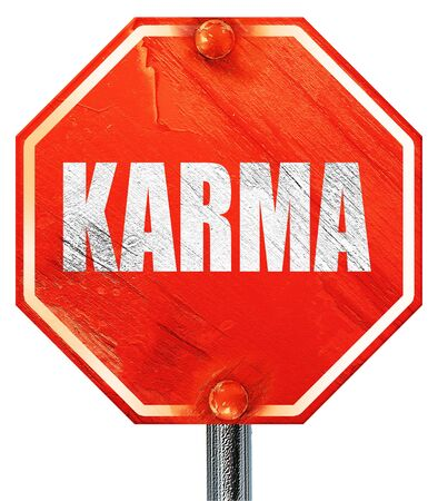 forthcoming: karma, 3D rendering, a red stop sign