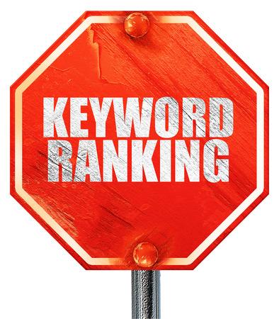 keyword: keyword ranking, 3D rendering, a red stop sign