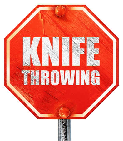 throwing knife: knife throwing, 3D rendering, a red stop sign Stock Photo