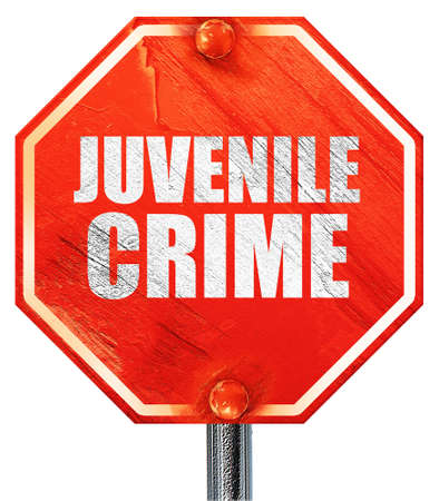 juvenile delinquent: juvenile crime, 3D rendering, a red stop sign Stock Photo