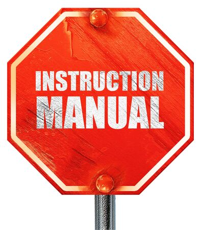 instruction manual: instruction manual, 3D rendering, a red stop sign Stock Photo
