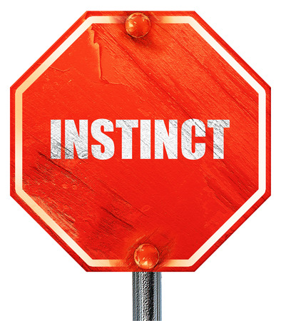 instinct: instinct, 3D rendering, a red stop sign Stock Photo