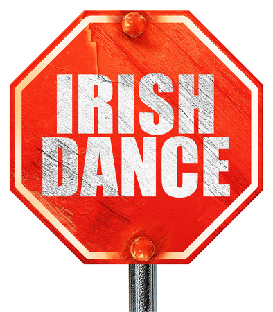 triskele: irish dance, 3D rendering, a red stop sign