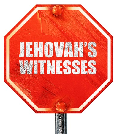 preach: jehovahs witnesses, 3D rendering, a red stop sign