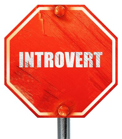 introvert: introvert, 3D rendering, a red stop sign Stock Photo