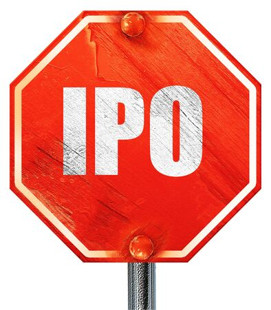 initial public offerings: ipo, 3D rendering, a red stop sign Stock Photo