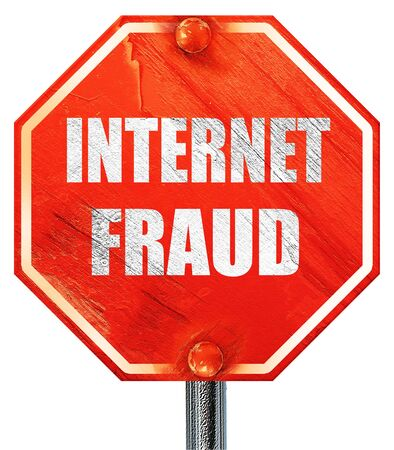 internet fraud: Internet fraud background with some smooth lines, 3D rendering, a red stop sign