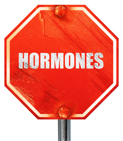 hormonas: hormonas, 3D, una señal de stop roja