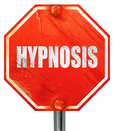 hypnosis: hypnosis, 3D rendering, a red stop sign