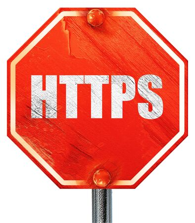 https: https, 3D rendering, a red stop sign Stock Photo