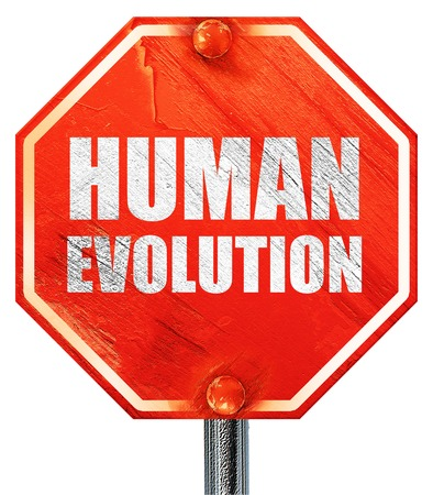 hominid: human evolution, 3D rendering, a red stop sign