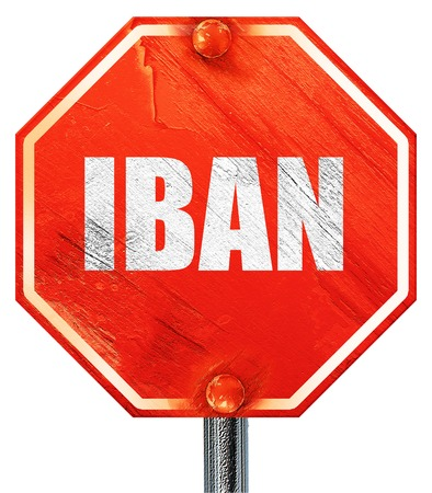 international bank account number: iban, 3D rendering, a red stop sign