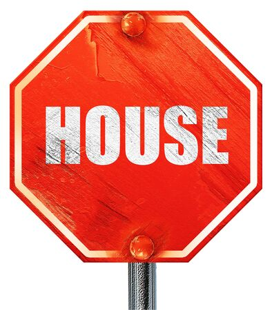 music 3d: house music, 3D rendering, a red stop sign