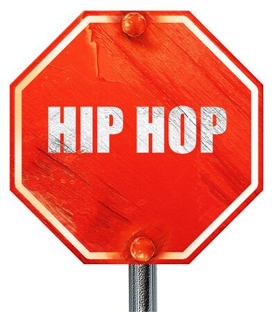 music 3d: hip hop music, 3D rendering, a red stop sign
