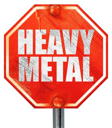 metal music: heavy metal music, 3D rendering, a red stop sign Stock Photo