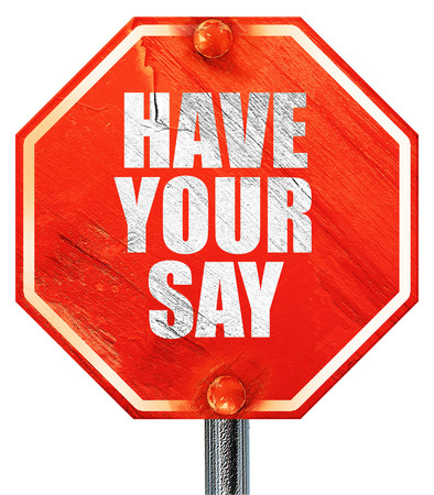 suggestions: have your say, 3D rendering, a red stop sign Stock Photo