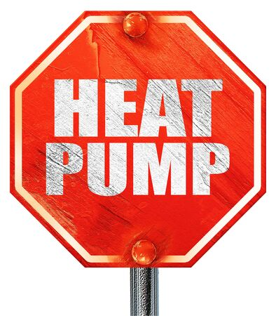 heat pump: heat pump, 3D rendering, a red stop sign