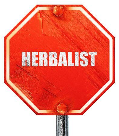 herbolaria: herbolario, 3D, una señal de stop roja Foto de archivo