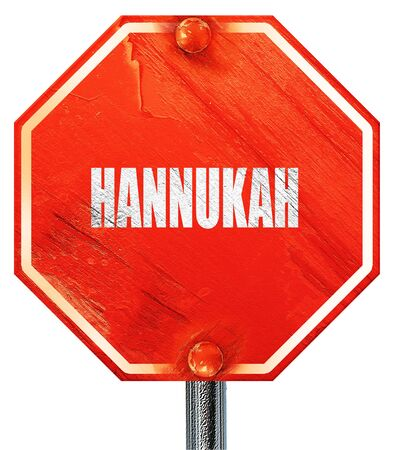 hannukah: hannukah, 3D rendering, a red stop sign