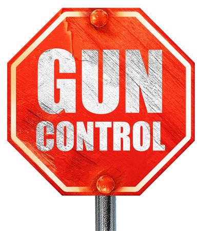 gun control: gun control, 3D rendering, a red stop sign