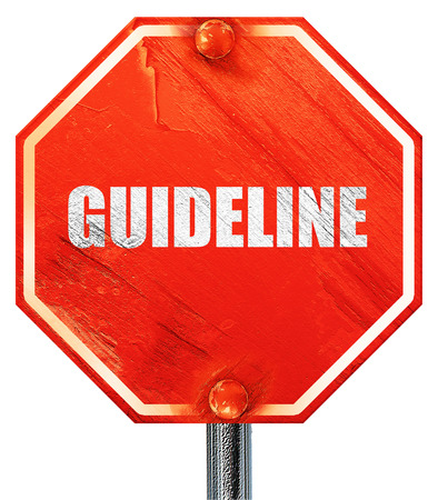 guideline: guideline, 3D rendering, a red stop sign