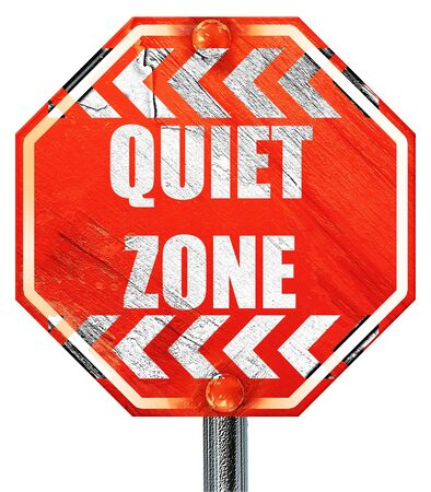 Quiet zone sign with some vivid colors, 3D rendering, a red stop sign Stock Photo